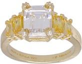 Judith Ripka 14K Clad Diamonique & Canary Diamonique Ring