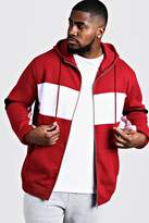 BoohoomanBoohooMAN Mens Red Big & Tall Colour Block Zip Through Hoodie, Red