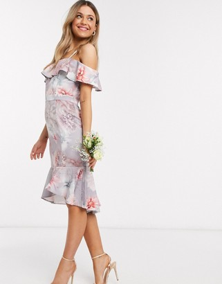 Chi Chi London Chi Chi Bridesmaid Etienne one shoulder midi pencil dress with frill detail in floral