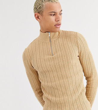 Asos DESIGN Tall muscle fit lightweight cable half zip jumper in camel