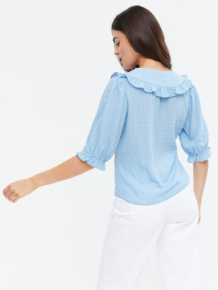 New Look Alison Frill Collar Button Through Top - Light Blue