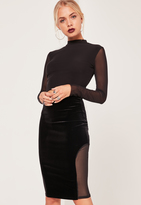 Missguided Velvet Mesh Insert Midi Skirt Black