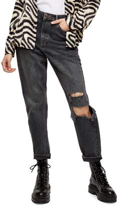 Topshop Ripped Washed Jeans 32-Inch Leg