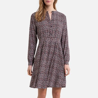Jacqueline De Yong Printed Knee-Length Shirt Dress with Mandarin-Collar and Long Sleeves