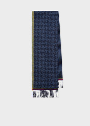 Paul Smith Women's Navy Wool Houndstooth Scarf