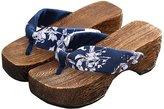 Ez-sofei Women's Floral Japanese Wooden Shoes Getas