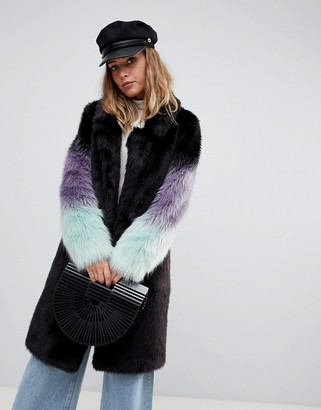 Urban Code Urbancode longline coat with ombre faux fur sleeves-Black