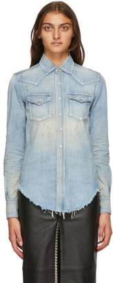 Saint Laurent Blue Denim Distressed Shirt