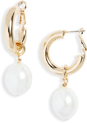 Stella + Ruby Chunky Imitation Pearl Huggie Hoop Earrings