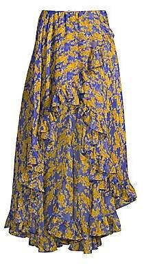Caroline Constas Women's Adelle Floral Ruffle High-Low Skirt