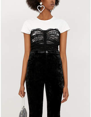 Pinko Scovare cropped cotton and lace T-shirt