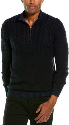 Forte Cashmere Cable-Knit Cashmere 1/4-Zip Mock Sweater