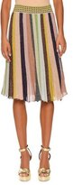 Missoni Striped Pleated A-Line Skirt, Gold Rainbow