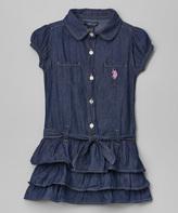 U.S. Polo Assn. Blue Ruffle Dress - Girls
