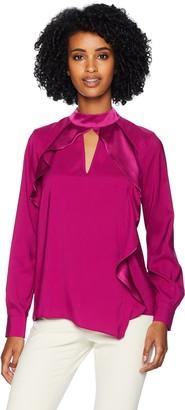 Parker Women's Cianni Long Sleeve Asymmetrical Ruffle Blouse