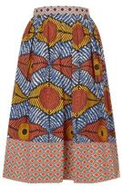 Max Mara Tribal Poplin Midi Skirt