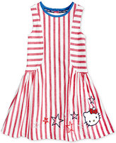 Hello Kitty Embroidered Striped Cotton Dress, Toddler and Little Girls (2T-6X)