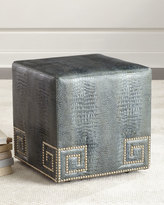 Massoud Chantal Leather Ottoman, Blue