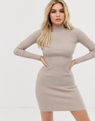 Asos Design DESIGN ribbed knit mini dress with raglan sleeve-Stone