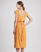 Tracy Reese Animal-Print Tie-Back Midi Dress