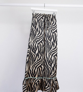Reclaimed Vintage inspired satin skirt in animal print