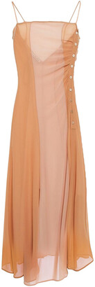 Acne Studios Delila Button-detailed Silk-chiffon And Crepe De Chine Midi Dress