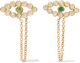 Ileana Makri Chained Eye 18-karat gold, diamond and tsavorite earrings