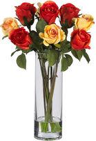 Asstd National Brand Nearly Natural Roses Silk Flower Arrangement with Glass Vase