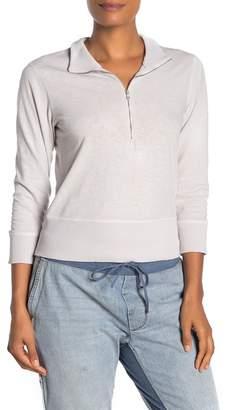 James Perse 3/4 Length Sleeve Front Zip Sweatshirt