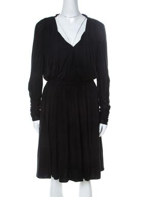 Lanvin Black Cashmere Blend Gathered Detail Long Sleeve Dress M