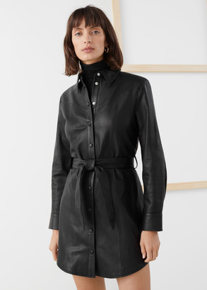 And other stories Leather Belted Mini Shirt Dress