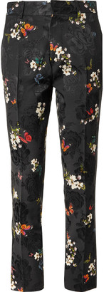 Amiri Black Slim-Fit Printed Floral-Jacquard Suit Trousers