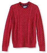 Classic Men's Cotton Slub Aran Cable Rollneck Sweater Navy Stripe