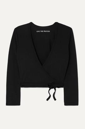 Live The Process Zen Cropped Stretch-supplex Wrap Top - Black