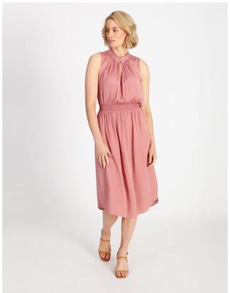 Basque Shirre Waist Midi Dress