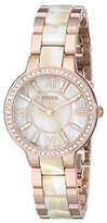 Fossil Women's ES3716 Virginia Three-Hand Stainless Steel Watch in Rose Gold Tone with Horn Acetate