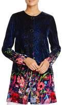 T Tahari Jenna Print Velvet Coat