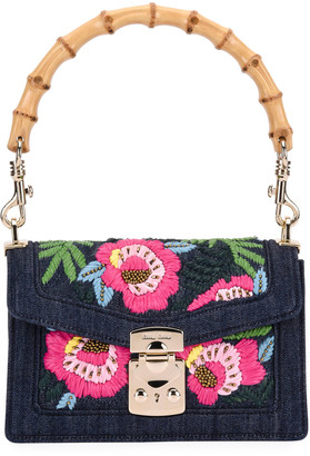 Miu Miu Denim Ricamo Bamboo Flap Shoulder Bag