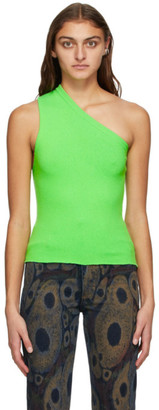 Extreme Cashmere Green Cashmere Asymmetric Tank Top