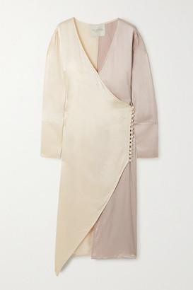 ENVELOPE1976 + Net Sustain Asymmetric Two-tone Textured-satin Wrap Dress