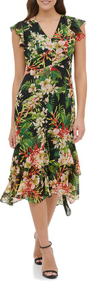 Tommy Hilfiger Women's Casual Dresses BML - Black & Green Tropical Floral Ruffle Hi-Low Midi Dress - Women