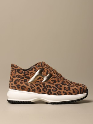 Hogan Interactive Leopard Split Leather Sneakers With Rounded H