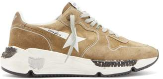 Golden Goose Running Sole Suede Trainers - Mens - Brown White