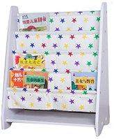 LANKUO Kids Book Rack Storage Bookshelf Toy Sling Book Rack,white/white