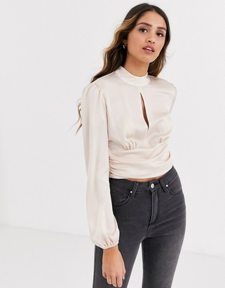 Miss Selfridge blouse with keyhole detail in blush pink