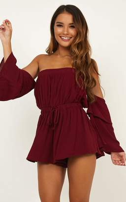 Showpo Keeping Me Playsuit in wine - 20 (XXXXL) Off The Shoulder
