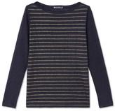 Petit Bateau Womens long-sleeved linen T-shirt with shiny stripes