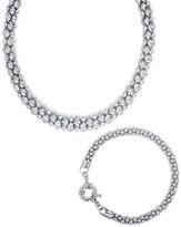 Silvertone Popcorn Mesh Necklace & Bracelet