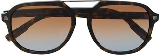Ermenegildo Zegna Double-Bridge Oversized Sunglasses