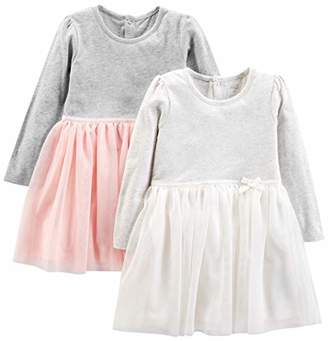 Carter's Simple Joys by Girls' Toddler 2-Pack Long-Sleeve Dress Set with Tulle